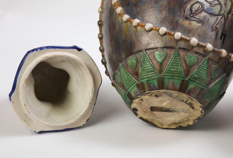 A Pair of French Majolica Egyptian Vases and Covers, Late 19th Century For Sale 12