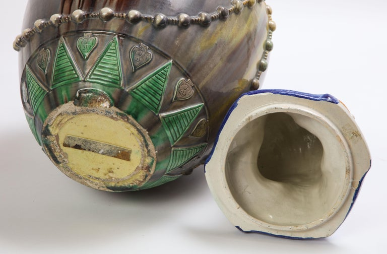 A Pair of French Majolica Egyptian Vases and Covers, Late 19th Century For Sale 14