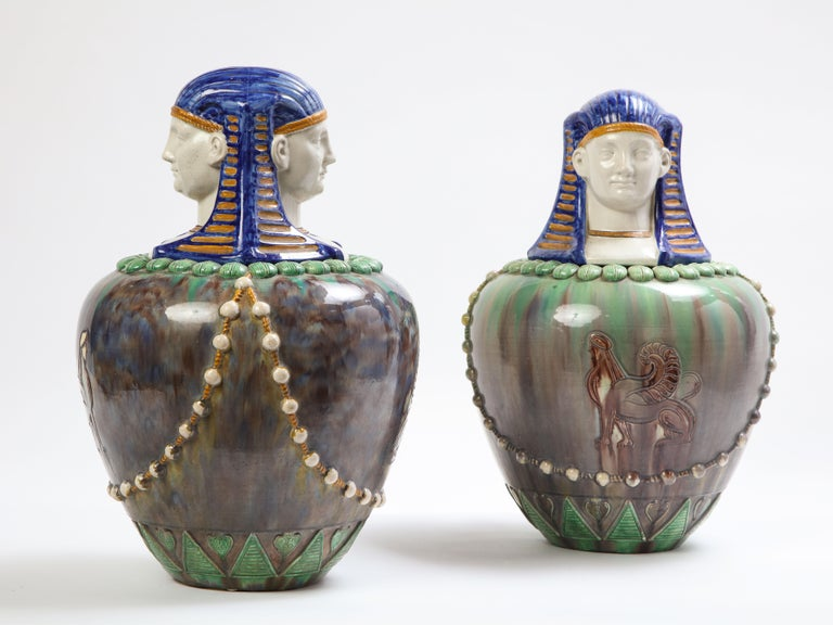 A Pair of French Majolica Egyptian Vases and Covers, Late 19th Century In Good Condition For Sale In New York, NY