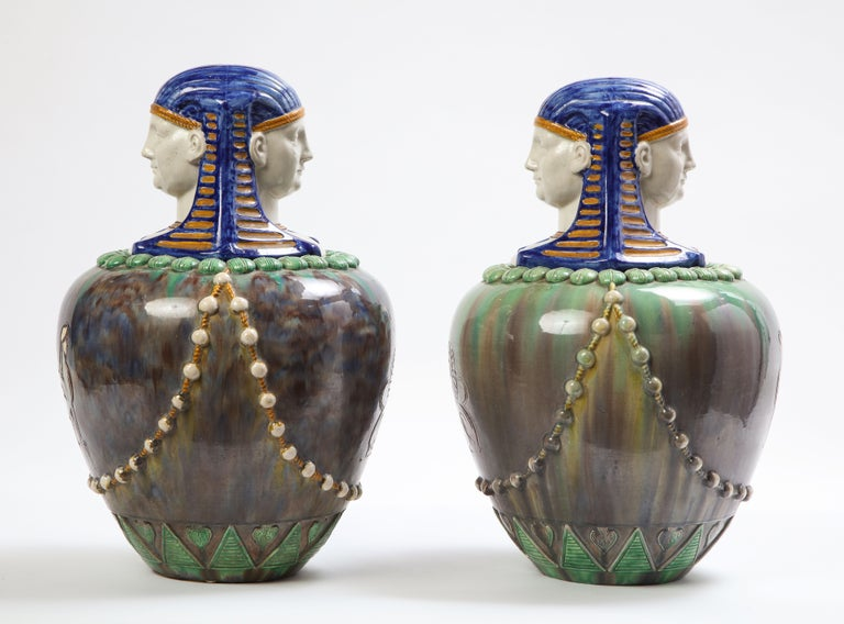 A Pair of French Majolica Egyptian Vases and Covers, Late 19th Century For Sale 1