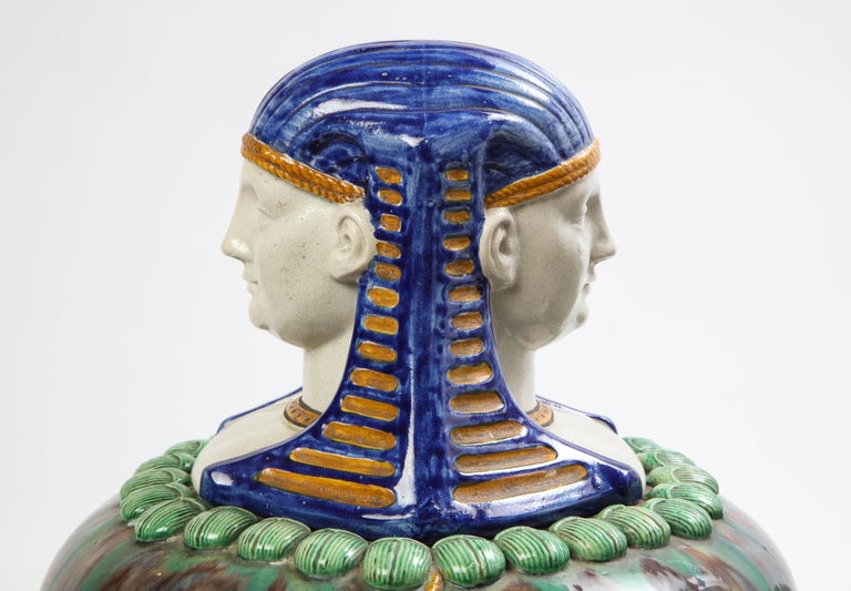 A Pair of French Majolica Egyptian Vases and Covers, Late 19th Century For Sale 4