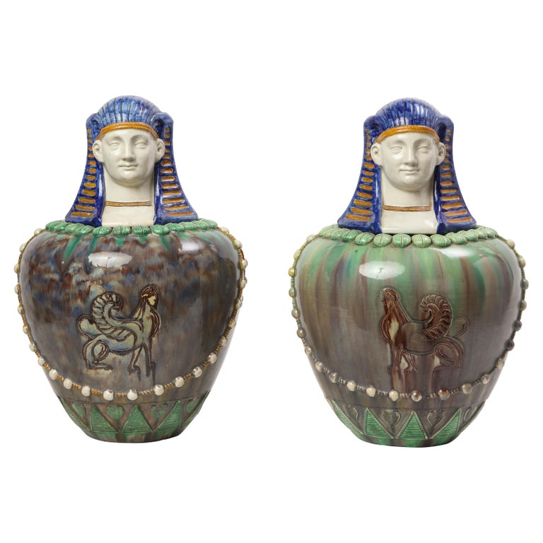 A Pair of French Majolica Egyptian Vases and Covers, Late 19th Century For Sale