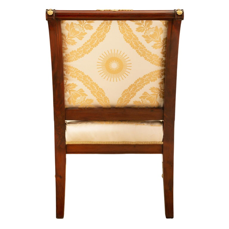 Pair of French Mid-19th Century Empire Style Mahogany and Ormolu Armchairs For Sale 1