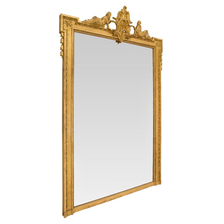 Pair of French Mid-19th Century Louis XVI Style Giltwood Mirrors In Excellent Condition For Sale In West Palm Beach, FL