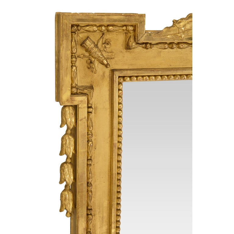 Pair of French Mid-19th Century Louis XVI Style Giltwood Mirrors For Sale 4