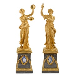 Pair of French Mid-19th Century Louis XVI St. Ormolu Decorative Statues