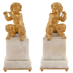 Pair of French Mid-19th Century Louis XVI Style Ormolu Statues of Cherubs