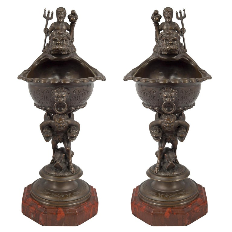 Pair of French Mid-19th Century Renaissance Style Bronze and Marble Ewers In Excellent Condition For Sale In West Palm Beach, FL