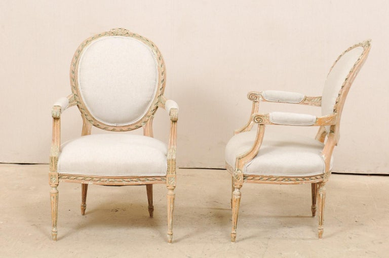 Pair of French Mid-20th Century Oval Back Armchairs with Nicely Carved Accents For Sale 6