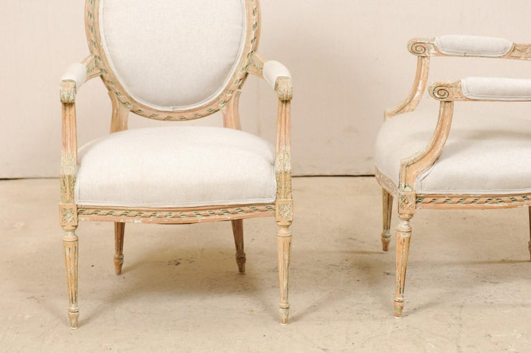 Pair of French Mid-20th Century Oval Back Armchairs with Nicely Carved Accents For Sale 7