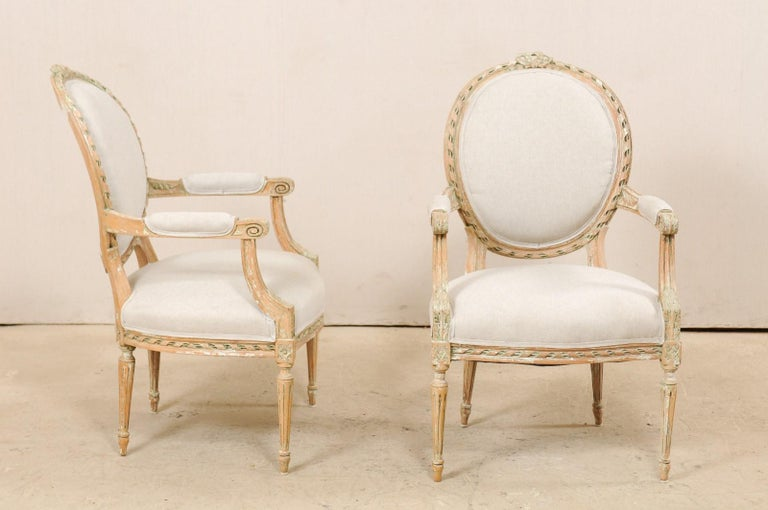 Pair of French Mid-20th Century Oval Back Armchairs with Nicely Carved Accents For Sale 1