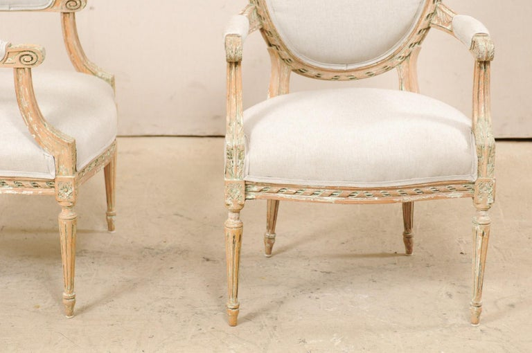 Pair of French Mid-20th Century Oval Back Armchairs with Nicely Carved Accents For Sale 3