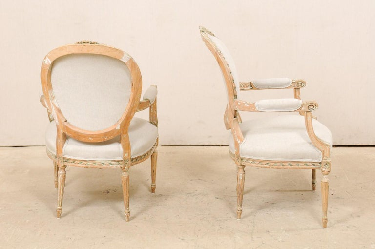 Pair of French Mid-20th Century Oval Back Armchairs with Nicely Carved Accents For Sale 4