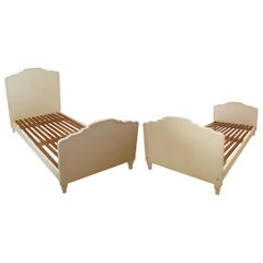 Pair of French Modern White Painted Companion Beds, Jean- Michel Frank