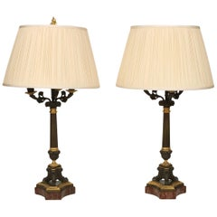 Pair of French Napoleon Bronze and Gilt Metal Candlestick Lamps