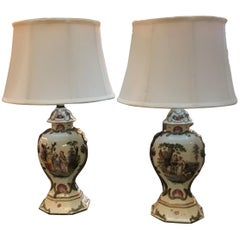 A Pair of French Paris Porcelain Hand Painted Urn Lamps