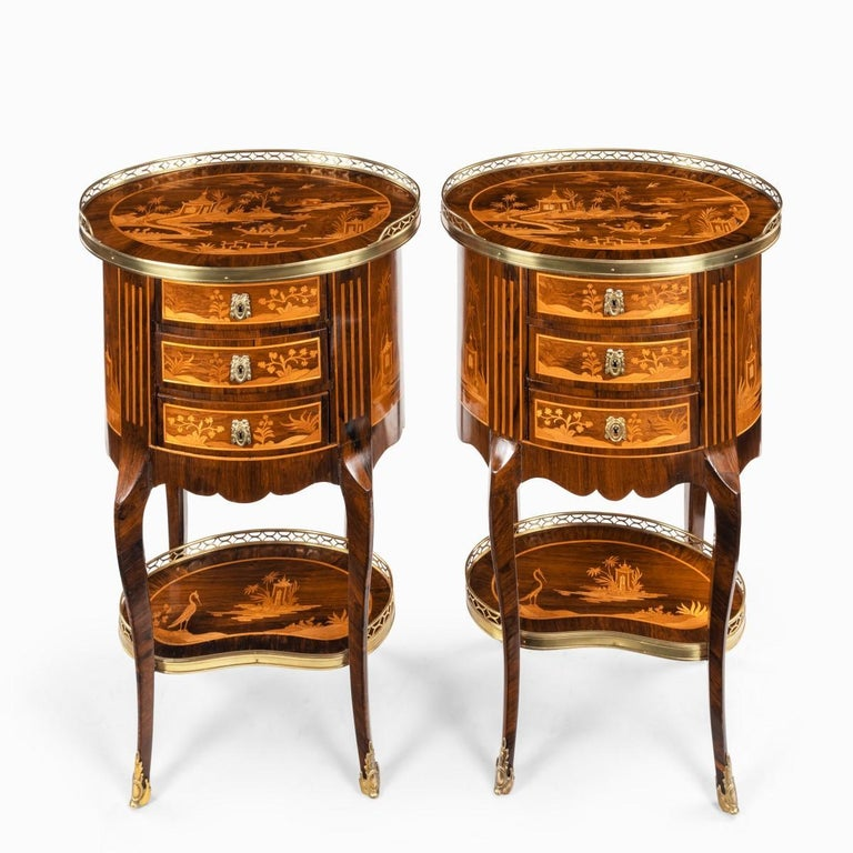 Pair of French Rosewood Occasional Tables For Sale 4