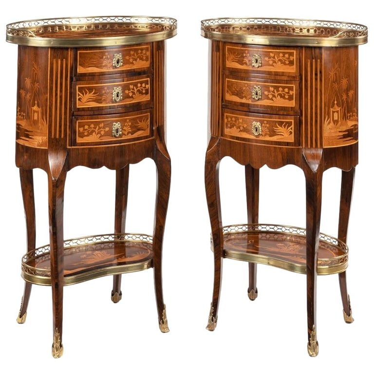 Pair of French Rosewood Occasional Tables For Sale