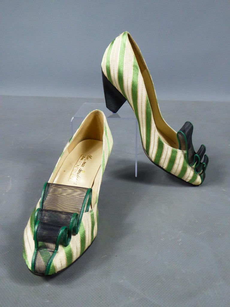 A pair of French Shoes Moi, mes souliers Heels for Fonteneau Circa 1970 For Sale 9