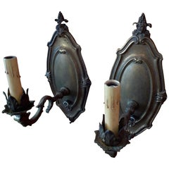 Pair of French Vintage Metal Single Light Sconces