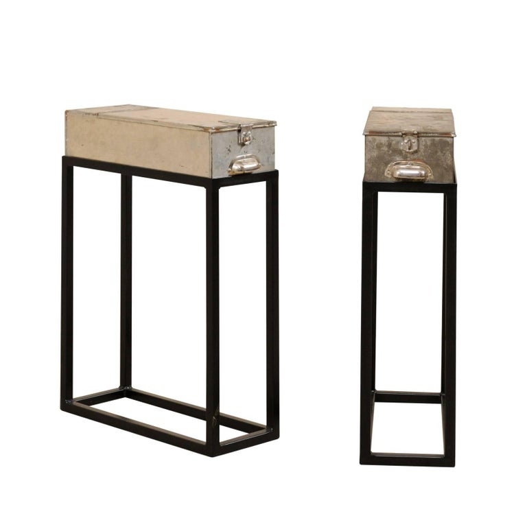 Pair of French Vintage Side or End Table Metal Bank Boxes on Custom Stands