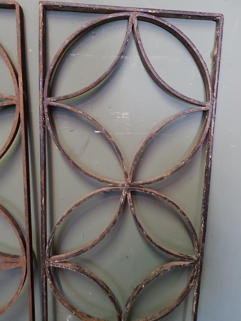 Pair of French Wrought Iron Vintage Door Grilles In Good Condition For Sale In Raalte, NL