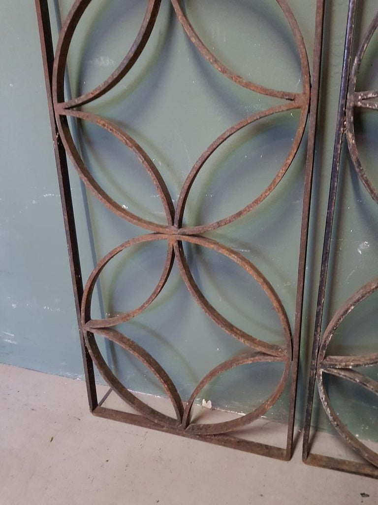 20th Century Pair of French Wrought Iron Vintage Door Grilles For Sale