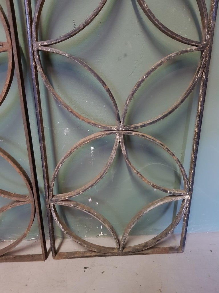 Pair of French Wrought Iron Vintage Door Grilles For Sale 1