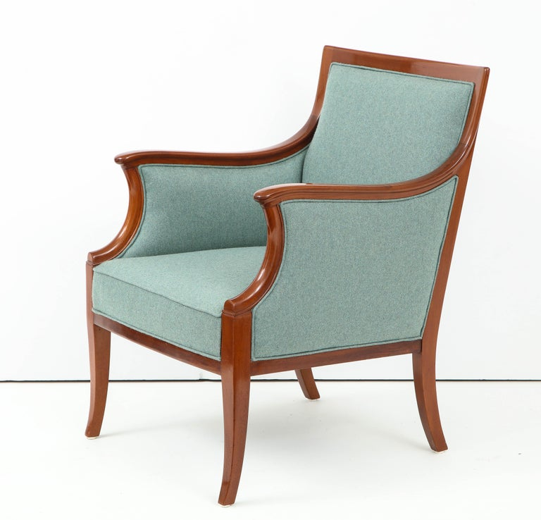 Wood Pair of Frits Henningsen Mahogany Armchairs, circa 1940s For Sale