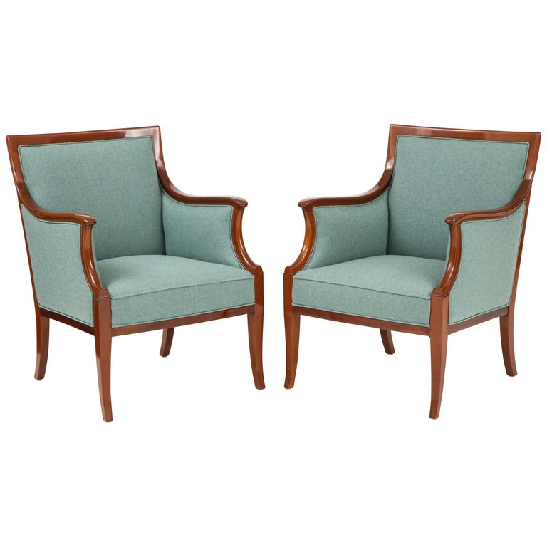 Pair of Frits Henningsen Mahogany Armchairs, circa 1940s For Sale