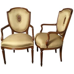 Pair of Fruitwood Shield Back Armchairs in Linen