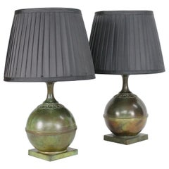 Pair of GAB Swedish Modern Patinated Bronze Table Lamps, 1930s