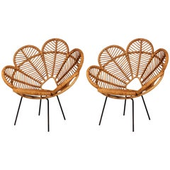 Pair of Garden Chairs Mid Century French Design in Cane, Wicker and Raffia