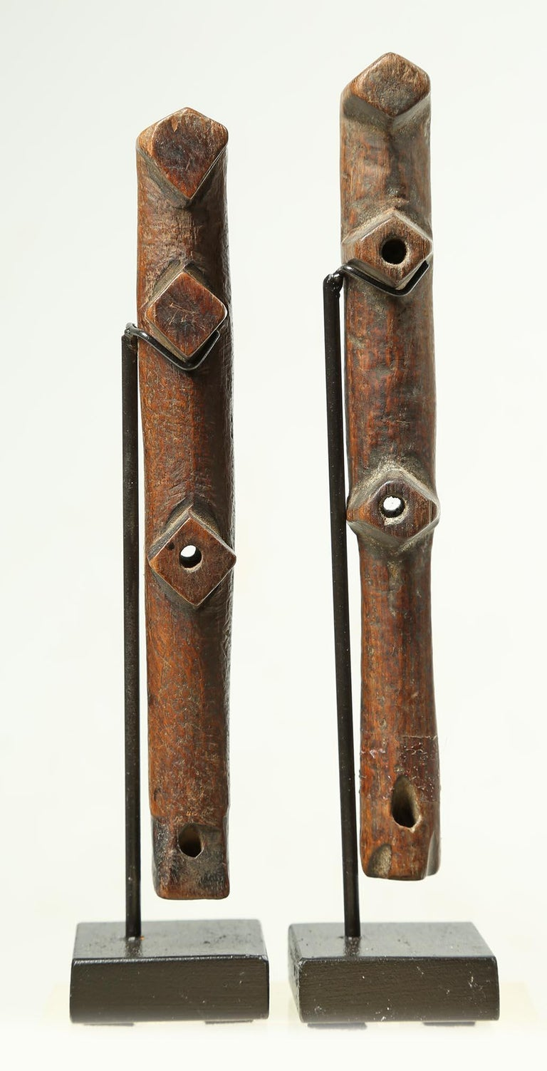 Burkinabe Pair of Geometric Flutes from Africa, Early 20th Century Great Modern Forms For Sale