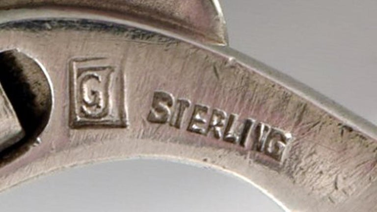Pair of Georg Jensen Art Deco Cufflinks in Sterling Silver, 1933-1944 For Sale 1
