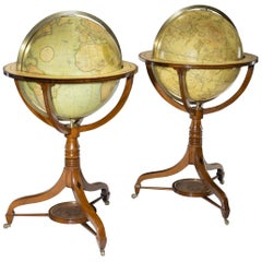 Pair of George III Globes by J&W Cary Dated 1815 and 1800