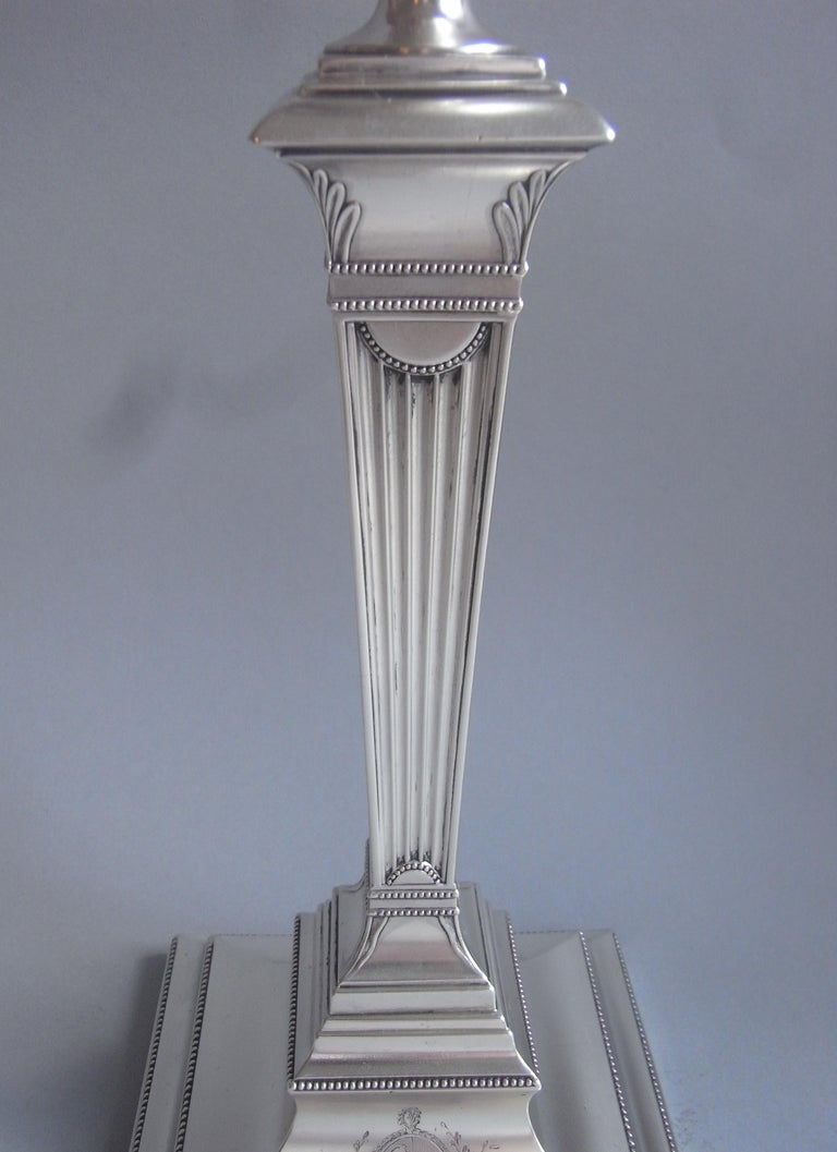 European Pair of George III Candlesticks Made in Sheffield in 1783 by Samuel Roberts For Sale