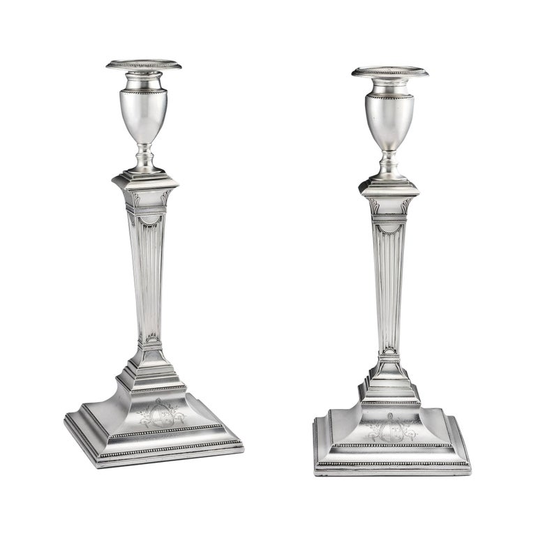 Pair of George III Candlesticks Made in Sheffield in 1783 by Samuel Roberts For Sale