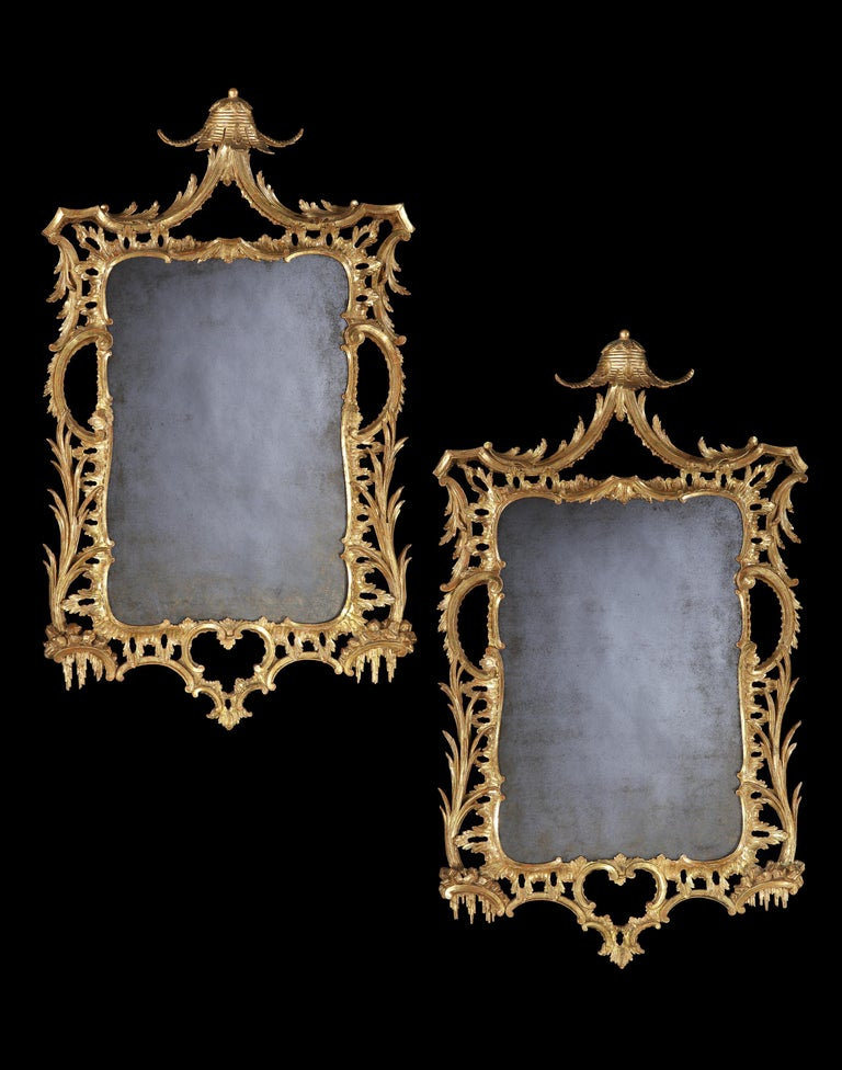 Pair of George III Carved and Gilded Mirrors 6