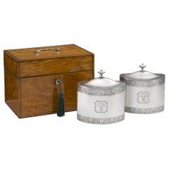 Pair of George III Cased Tea Caddies, London, 1793, William Frisbee