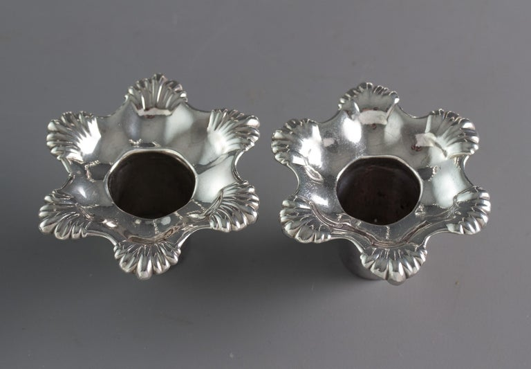 Pair of George III Cast Silver Candlesticks, London, 1763 by William Cafe For Sale 10