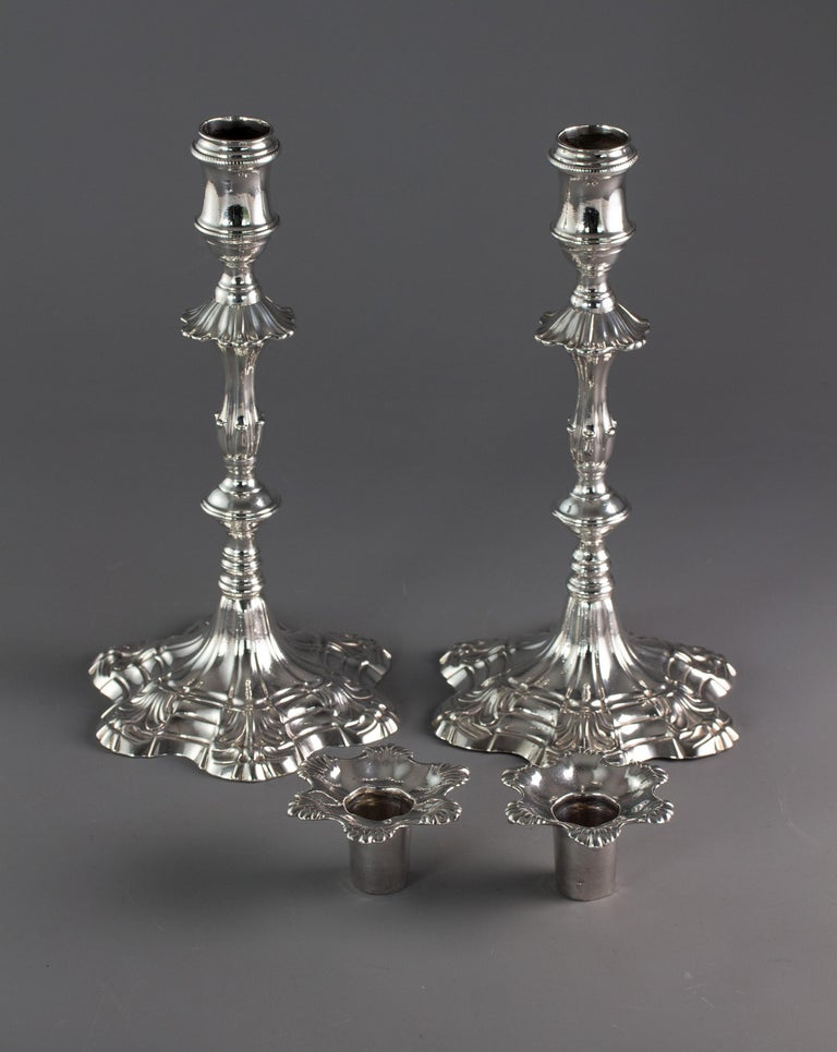 British Pair of George III Cast Silver Candlesticks, London, 1763 by William Cafe For Sale