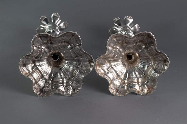 Pair of George III Cast Silver Candlesticks, London, 1763 by William Cafe For Sale 2