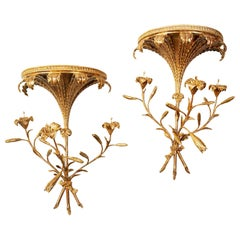 Pair of George III Giltwood Lily Wall-Brackets