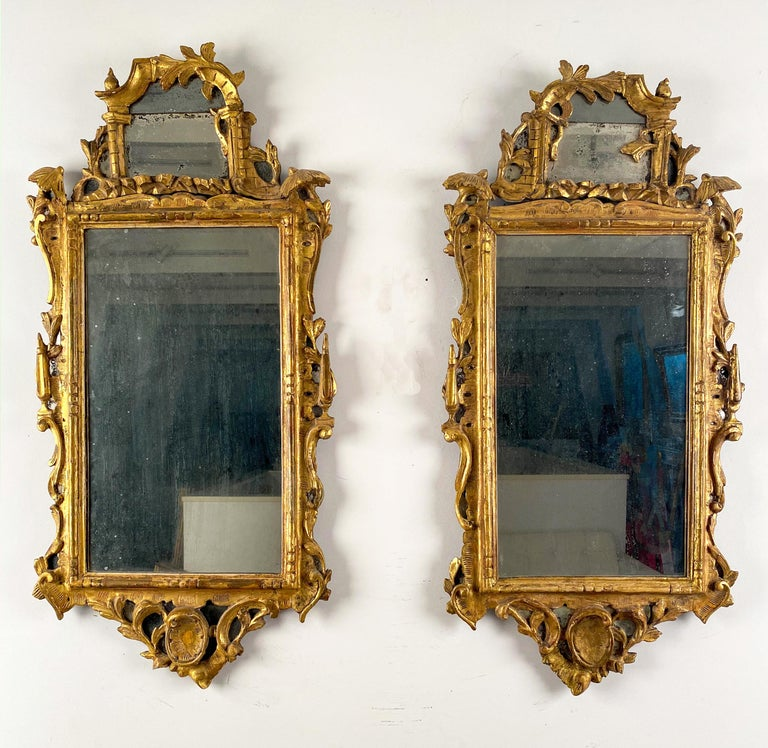 A Pair of George III Giltwood Mirrors For Sale