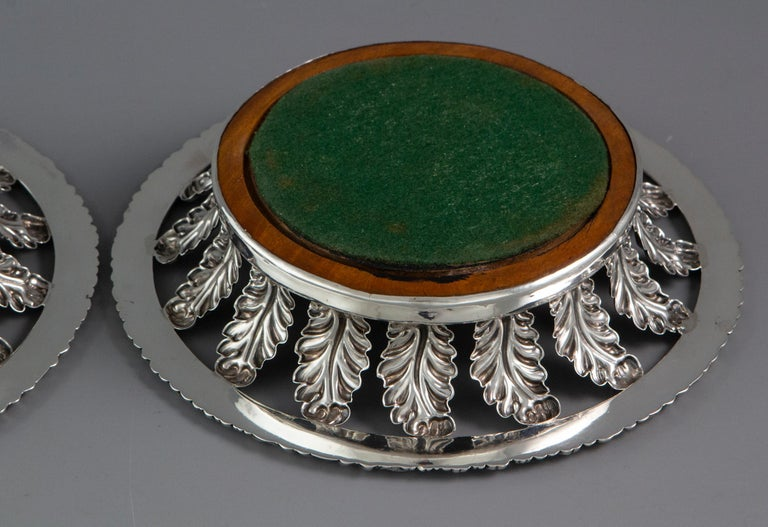 Early 19th Century Pair of George III Silver Wine Coasters Sheffield, 1818