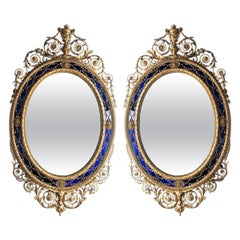 Pair of George III Style Oval Mirrors in the Manner of Robert Adam, circa 1885