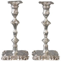 A Pair of Georgian Cast Silver Candlesticks, London 1752