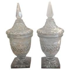 Pair of Georgian Cut Glass Urns Jars