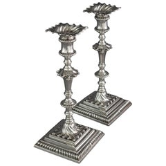 Pair of Georgian Silver Candlesticks London 1766/7 by Ebenezer Coker